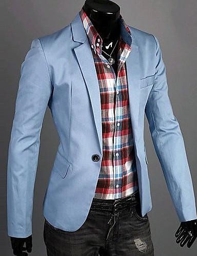 Χαμηλού Κόστους Αντρικά Μπλέιζερ & Κοστούμια-Ανδρικά Καθημερινά / Δουλειά Άνοιξη / Φθινόπωρο Κανονικό Μπλέιζερ, Μονόχρωμο Λαιμόκοψη V Μακρυμάνικο Βαμβάκι Σκούρο μπλε / Πράσινο / Μπλε XL / XXL / XXXL / Λεπτό