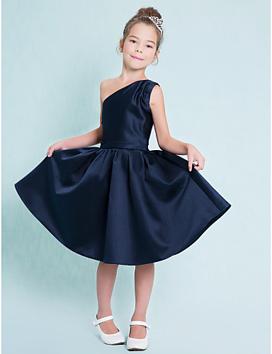 A-Line One Shoulder Knee Length Satin Junior Bridesmaid Dress with Sash / Ribbon Pleats by LAN TING BRIDE®