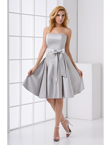 A-Line Strapless Knee Length Stretch Satin Bridesmaid Dress with Sash / Ribbon by LAN TING BRIDE®