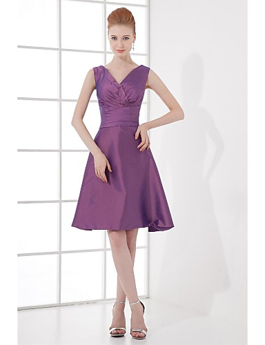 A-Line V Neck Knee Length Taffeta Bridesmaid Dress with Bow(s) / Side Draping by LAN TING BRIDE®