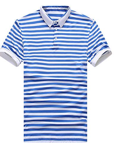 Homens Polo Listrado Algodão Colarinho de Camisa