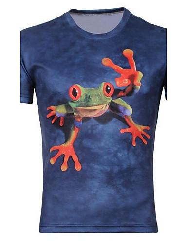 남성의 면 / 폴리에스테르 프린트 짧은 소매 캐쥬얼 / 플러스 사이즈 티셔츠-애니멀 프린트
