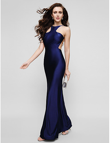 Sheath / Column Jewel Neck Floor Length Charmeuse Prom / Formal Evening Dress with Pleats by TS Couture®