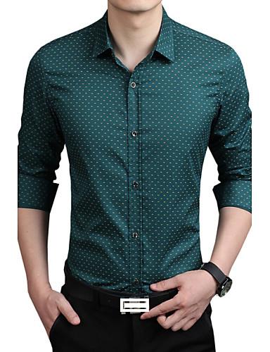 abordables Camisas de Hombre-Hombre Negocios Trabajo Tallas Grandes Estampado - Algodón Camisa Verde XXXL / Manga Larga