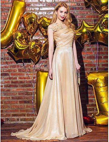 Γραμμή Α Ουρά Σιφόν Επίσημο Βραδινό Φόρεμα με Λουλούδι(α) Πλαϊνό ντραπέ με TS Couture®