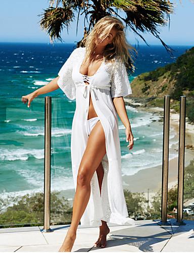 abordables Hauts pour Femmes-Femme Sportif Bohème Blanc Noir Bandeau Vêtement couvrant Maillots de Bain - Couleur Pleine Dentelle Taille unique Blanc