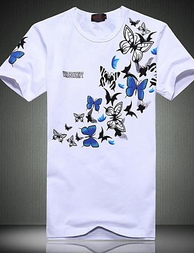 남성용 슬림 플러스 사이즈 - 티셔츠 스포츠 주말 면 프린트
