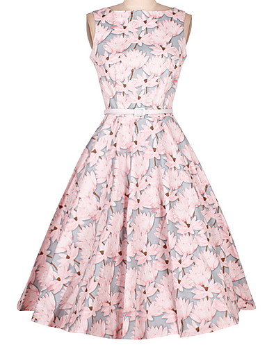 Women's A Line Dress - Floral High Rise