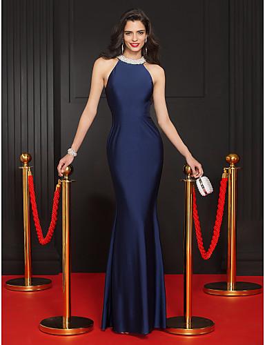 Kroj uz tijelo Ovalni izrez Do poda Žersej Formalna večer / Svečana zabava Haljina s Perlica po TS Couture®