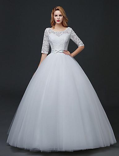 a-line 특종 바닥 길이 레이스 얇은 명주 그물 웨딩 드레스