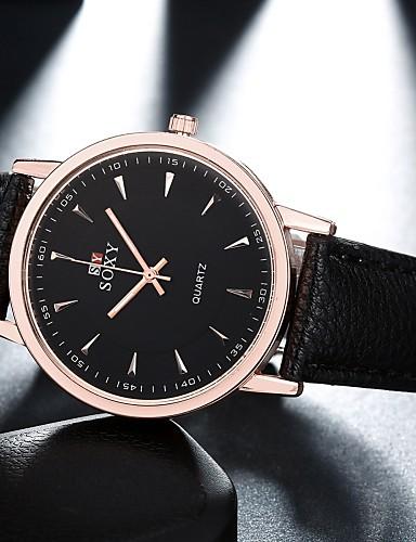 Masculino Relógio de Moda Quartzo Relógio Casual Couro Banda Preta Marrom Preto Marron