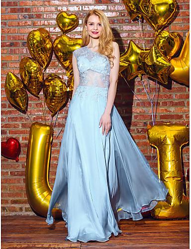 TS couture® 공식적인 저녁은 라인을 레이스 어깨 하나 층 길이 쉬폰 / 레이스 드레스