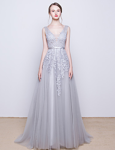 A-Line V Neck Sweep / Brush Train Tulle Over Lace Prom / Formal Evening Dress with Beading Sequin Appliques Lace by LAN TING Express