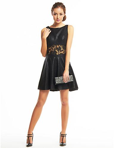 A-라인 숏 / 미니 폴리에스테르 칵테일 파티 프롬 드레스 와 레이스 으로 TS Couture®
