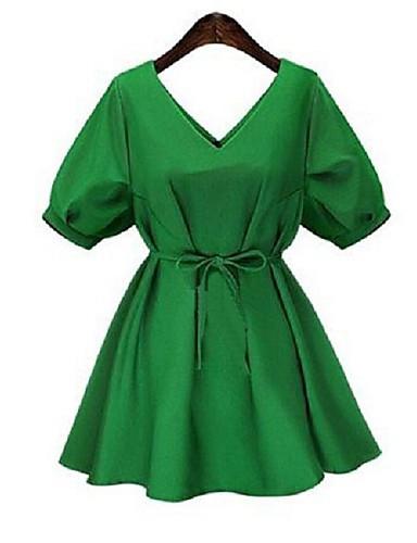 קיץ פוליאסטר ירוק / כתום שרוולים קצרים מעל הברך צווארון עגול אחיד פשוטה / סגנון רחוב יום יומי\קז'ואל / מידות גדולות שמלה משוחרר נשים