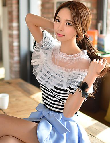 Mulheres Camiseta Happy-Hour Sensual / Moda de Rua Verão,Listrado Branco Raiom / Poliéster / Náilon / Elastano Decote Redondo Manga Curta