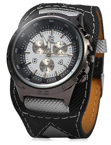 Homens Quartzo Relógio de Pulso Relógio Casual PU Banda Amuleto Branco
