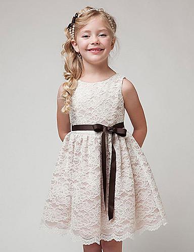 Mädchen Kleid Alltag Baumwolle Frühling Sommer Ärmellos Spitze Weiß Schwarz