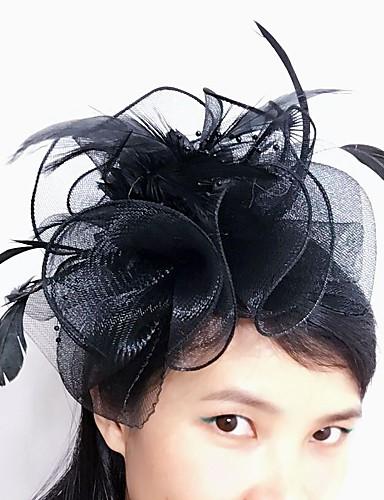 abordables Chapeau & coiffure-Tulle / Plume / Filet Fascinators / Coiffure avec Fleur 1pc Mariage / Occasion spéciale Casque