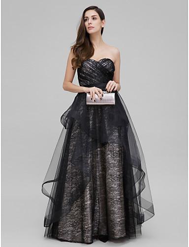 A-Şekilli Prenses Kalp Yaka Yere Kadar Dantelalar Dantel Haç ile Balo Resmi Akşam Elbise tarafından TS Couture®