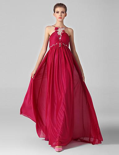 공 드레스 보석 목 스윕 / 브러시 기차 쉬폰 Tulle 이브닝 드레스