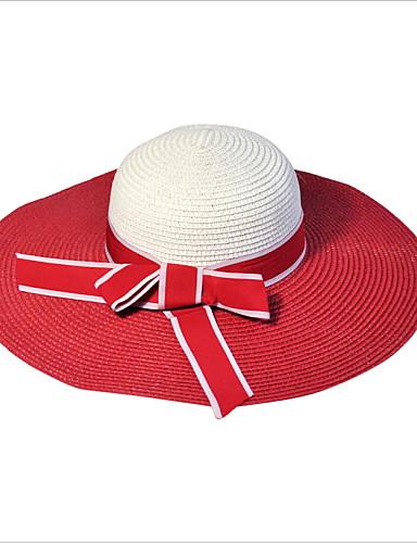 Uniseks Vintage Slatko Zabava Posao Ležerne prilike Proljeće Ljeto Slama Šešir širokog oboda Slamnati šešir Šešir za sunce Crn Tamno