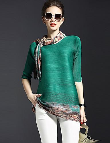 ราคาถูก เสื้อผู้หญิง-สำหรับผู้หญิง เสื้อสตรี Street Chic ไปเที่ยว ลายพิมพ์ คอวี ลายดอกไม้ สีเขียว ขนาดเดียว