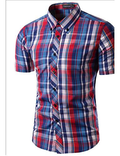 voordelige Uitverkoop-Heren Print Overhemd Ruitjes Buttondown boord Slank Wijn / Korte mouw / Zomer