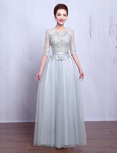 שמלת ערב רשמית - לראות דרך קו תכשיט באורך הרצפה עם תחרה