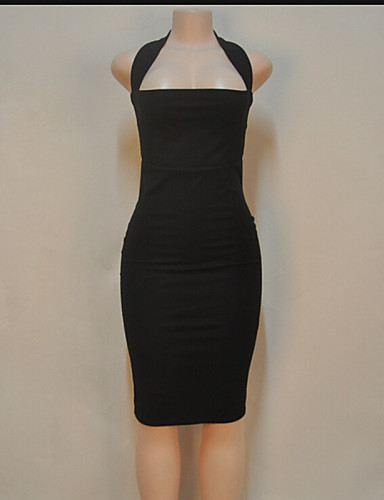 여성의 섹시 바디콘 드레스 솔리드 무릎길이 홀터 넥 면 / 폴리에스테르