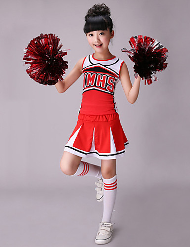 voordelige Shall We®-Cheerleaderpakjes Outfits Prestatie Katoen / Spandex Patroon / Print Mouwloos Hoog Top / Rok