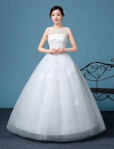 A-라인 바닥 길이 레이스 튤 웨딩 드레스 와 레이스 으로