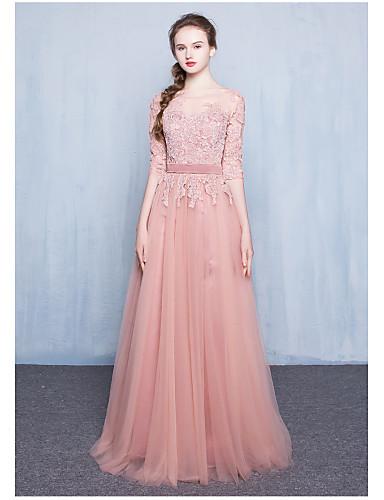포멀 이브닝 드레스 볼 드레스 쥬얼리 바닥 길이 레이스 / 튤 와 레이스 / 허리끈/리본