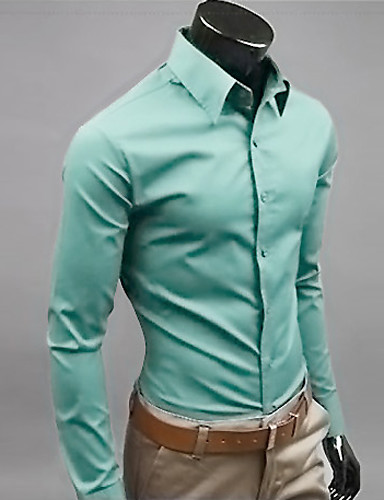 cheap Men's Shirts-Men's Daily Work Business Plus Size Slim Shirt - Solid Colored Basic Classic Collar Khaki XL / Long Sleeve / Spring / Fall