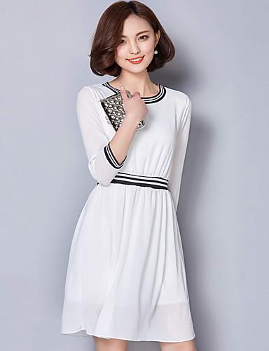 5bd8f7c8d7a33 Bayanlar Günlük/Sade / Büyük Beden Sade Şifon Elbise Solid,½ Kol Uzunluğu  Yuvarlak