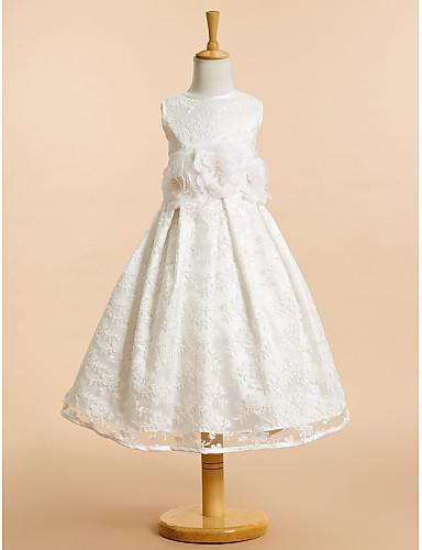 A-Linie Tee-Länge Blumenmädchenkleid - Spitze Ärmellos U-Ausschnitt mit Schleife(n) Spitze Blume durch LAN TING BRIDE®