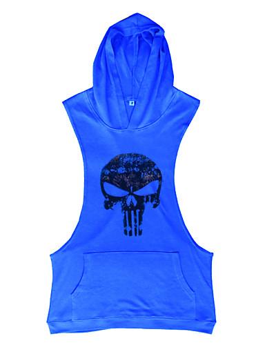 voordelige Heren T-shirts & tanktops-Heren Actief Print Singlet Sport Doodskoppen Capuchon Geel / Mouwloos / Zomer