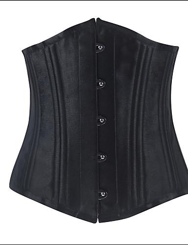 Для женщин Корсет под грудь / Большие размеры Ночное белье Однотонный Хлопок / Нейлон / Спандекс / Вискозное волокно Черный Женский