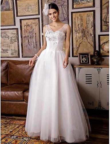 Trapèze Coeur Longueur Sol Tulle Robes de mariée personnalisées avec Billes Appliques par LAN TING BRIDE®