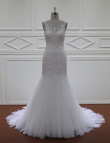 Haljina sa širokom suknjom Vjenčanica Srednji šlep Duboki izrez Čipka / Til s Aplikacije / Perlice / Šljokice