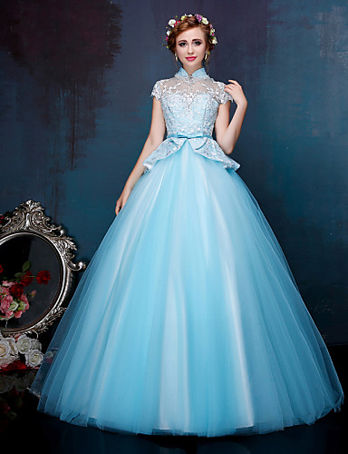De Baile Princesa Ilusão Decote Longo Renda Tule Evento Formal Vestido com Miçangas Apliques Laço(s) Detalhes em Cristal Bordado Flor(es)