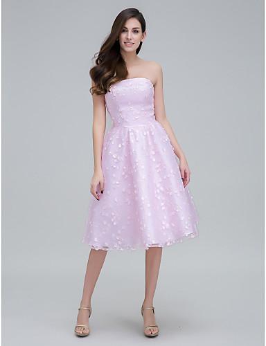 A-Linie Trägerlos Knie-Länge Spitze Abiball Kleid mit Applikationen durch TS Couture®
