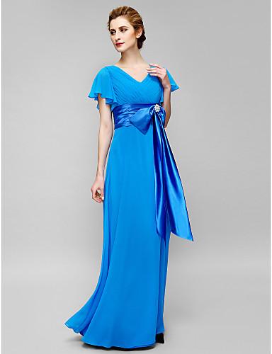 Tubinho Decote V Longo Chiffon Vestido Para Mãe dos Noivos com Detalhes em Cristal Cruzado de LAN TING BRIDE®
