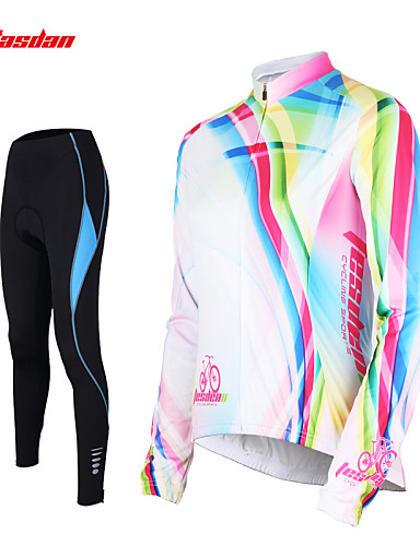 cheap Cycling Clothing-TASDAN Women's Long Sleeve Cycling Jersey with Tights - White Rainbow Plus Size Bike Pants / Trousers Jersey Tights Breathable 3D Pad Quick Dry Reflective Strips Back Pocket Winter Sports Rainbow
