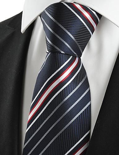 עניבת צווארון - פסים כותנה חוטי זהורית פוליאסטר מסיבה עבודה בסיסי בגדי ריקוד גברים