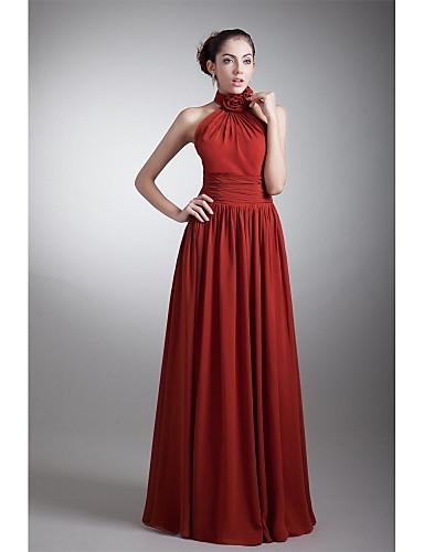 A-Linie Halter Boden-Länge Chiffon Formeller Abend Kleid mit Drapiert Blume(n) Seitlich drapiert durch TS Couture®