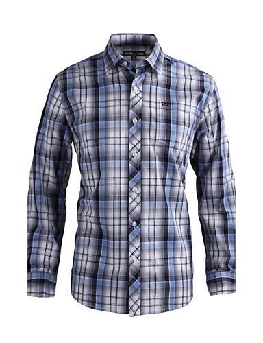 JamesEarl 남성 셔츠 카라 긴 소매 셔츠 & 블라우스 블랙 페이드 - DA202029126
