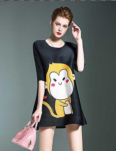 szerelem redők női egyszerű / aranyos állat nyomtatási laza ruha, kerek nyakú mini poliészter