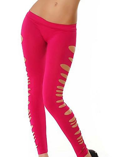 Damen Shredded Einfarbig Legging - Volltonfarbe Normal