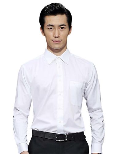 Sieben Brand® Herren Hemdkragen Lange Ärmel Shirt & Bluse Weiß-703A3B5280